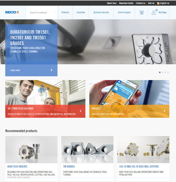 Seco Tools Website Users Gain Access to Advanced Online Services